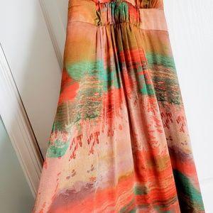 Halter neck multicolored maxi dress